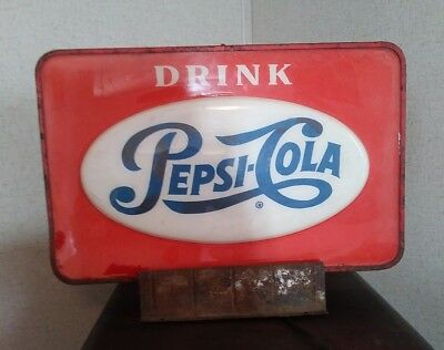 Old Light-Up PEPSI Cola Soda Advertising Store Display Sign Original