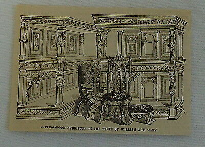 small 1882 magazine engraving ~SITTING-ROOM FURNITURE in times of William & Mary