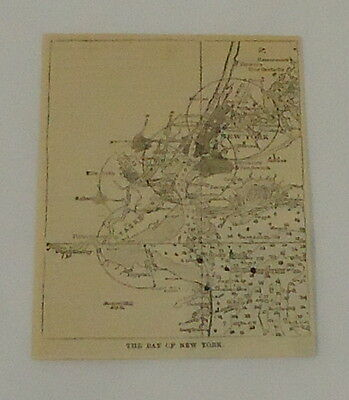 1887 small magazine engraving ~ map of BAY OF NEW YORK