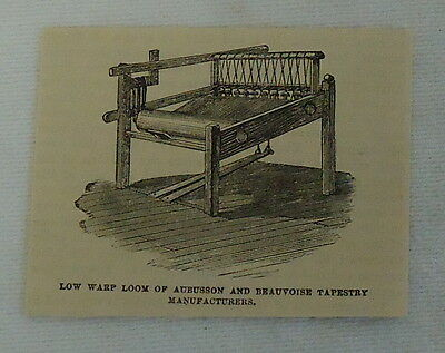 small 1882 magazine engraving ~ LOW WARP LOOM OF AUBUSSON & BEAUVOISE TAPESTRY