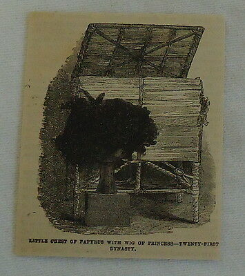 small 1882 magazine engraving ~ CHEST OF PAPYRUS, WIG OF PRINCESS 21st Dynasty
