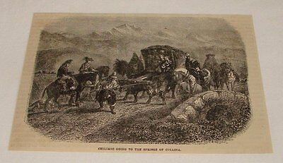 1876 magazine engraving ~ GOING TO SPRINGS OF COLLINA, Chile