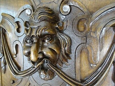 Antique French Highly Carved Panel Wanult Wood Salvage Devil Face