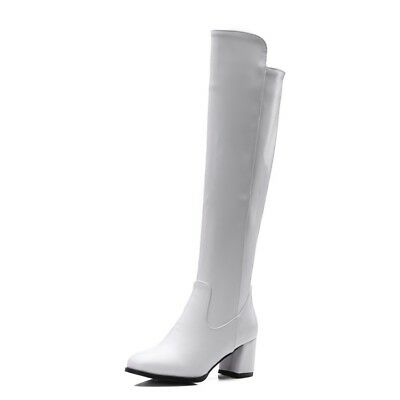 Womens Leather Zip Pointed Toe Block Heel Grace Knee High Boots Party Club Shoes