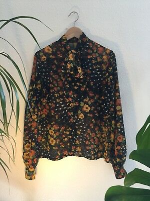 Gorgeous Vtg Floral 60s/70s Shirt Blouse Sheer Bow Neck Bell Sleeves Size M