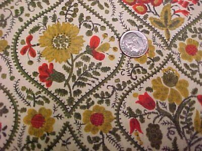 "Vintage Antique Cotton Quilt Doll Fabric Yellow Green Orange Floral 34"" Material"