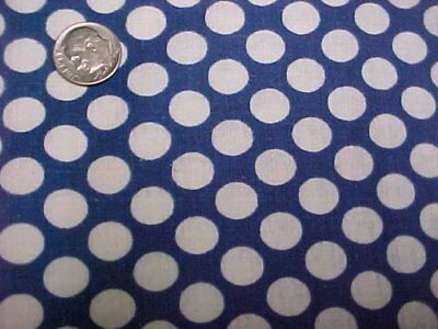 "Vintage Antique Cotton Quilt Doll Fabric White Polka Dots Blue 35"" Material Sew"