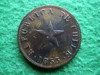 1853 Chile Star Centavo - One Year Type - Color - Free U S Shipping