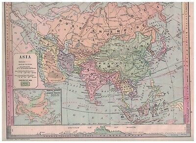 1885 Map of Asia - Nice Colors & Details
