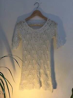 Vintage 90s Knit Lace Short Dress 50s 60s Look Gogo White Summer Size S