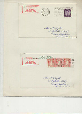 Pair of STS Winston Churchill ship cards cancelled Ireland 1967