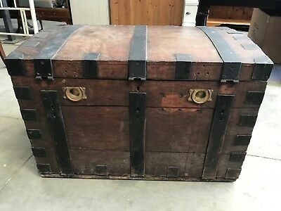 Antique Victorian Wooden Chest Storage Box ~ James & Walter Marshall CAN DELIVER