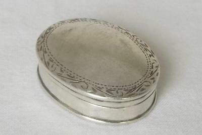 An Exquisite Solid Sterling Silver Oval Shaped Pill Box Import Birmingham 1990.