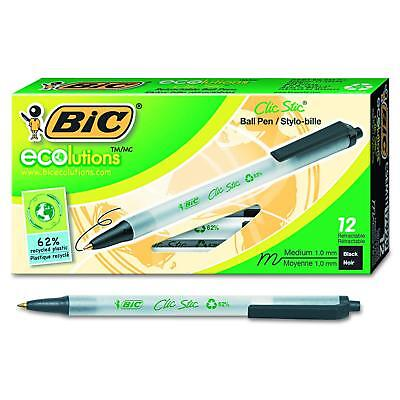 BIC Ecolutions Clic Stic Retractable Ball Pen Medium Point 1.0mm Black 12-Count