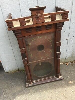 """Antique Eastlake Victorian Ornate Carved Wood Wall Clock Case almost 40"""" tall"""