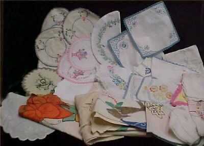 37 Vintage 40s Runner Doily Scarf Embroidery Linen Doily Cotton Craft LOT Estate