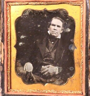 Daguerreotype Well Dressed Older Man Photo with ID 6th Plate Wyoming co NY