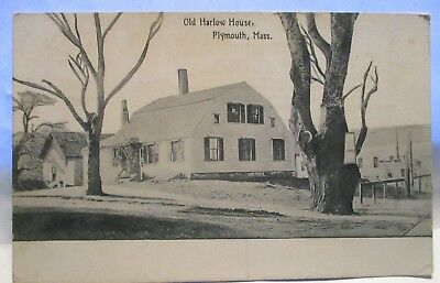 """11910 Photo Postcard """" Old Harlow House, Plymouth Mass """" W/ Sign On Tree Unused"""