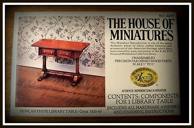 Vintage Dollhouse House Of Miniatures Duncan Phyfe Library Table Antique Copy