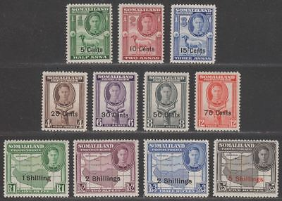 Somaliland Protectorate 1951 KGVI Surcharge Set Mint SG125-135 cat £55