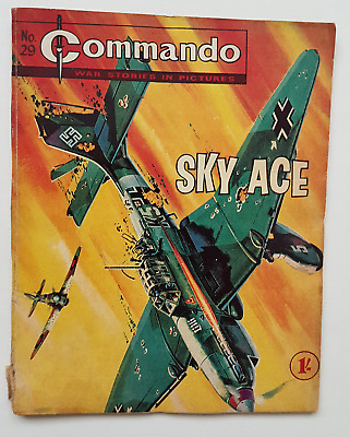 "COMMANDO no.29 ""SKY ACE"" rare original vintage British War Comic"