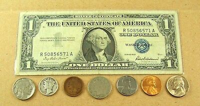 Starter Collection Silver Certificate w/ Mix Lot of Old US Coins + 4 Wheat Cents
