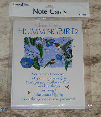 LEANIN TREE Advice from a Hummingbird 8 Notecards~#35850~Sip the Sweet Moments