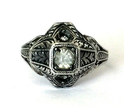 Antique Victorian Ornate Sterling Silver 925 Lovely Ladies Ring Clear Stone Sz 5
