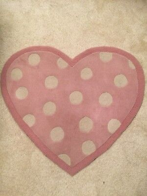 Next Pink And White Polka Dot Heart Rug For Girls Bedroom