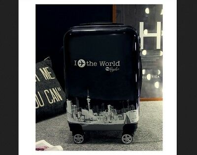 """A5 20"""" Black ABS PC Password Lock Portable Case Trolley Travel Bag Suitcase S"""