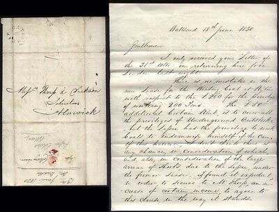 1830 RYTON COLLIERY LEASE letter from John Buddle (1773-1843) Civil Engineer
