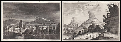 1668 China Asia Ansicht view Asien Pagode Kupferstich antique print Nieuhof