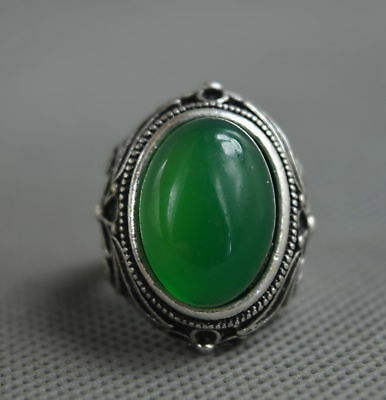 Collectable Handwork Decor Old Miao Silver Carve Flower Inlay Jade Lucky Ring