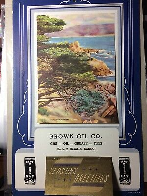 1940  Oil And Gas Calendar Golden Rule Blue Ribbon  Brown Oil Co Ingalls Kansas