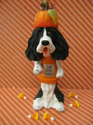 "Handsculpted B/W English Springer Spaniel ""Our Little Pumpkin"" Figurine-6 pc."