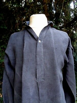 ANTIQUE FRENCH LINEN SHIRT TUNIC HAND DYED BLACK BLEACHED WORK SMOCK 19th