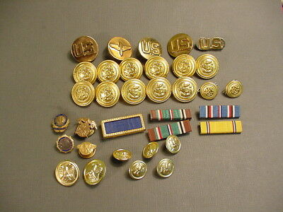 Vintage Lot Of WWII Brass Buttons~Lapel Buttons~Jacket Bars~Wings~Waterbury Co.
