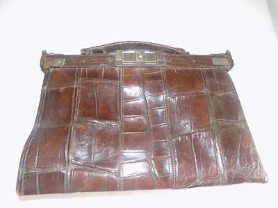 Art Deco 1930's Very Rare Slimline Foldable Gladstone Type Crocodile Hand Bag