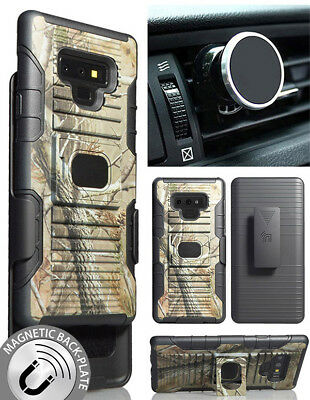 Camo Tree Real Woods Case + Clip + Magnet Car Mount for Samsung Galaxy Note 9