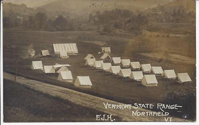 Vermont State Range,northfield,vt. Real Photo Postmarked 1909,military Life