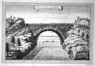 ca. 1750 Asia Asien pont bridge Brücke China Japan Kupferstich antique print