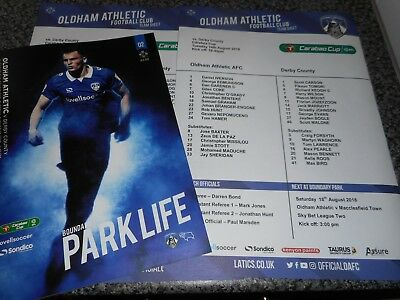 OLDHAM ATHLETIC  v  DERBY COUNTY 2018/19 CARABAO CUP  1st ~ AUG 14 + 2  T/SHEETS