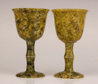 2 Pair Old Rare Natural Jade Carved Into Royal Wine Cup Goblets