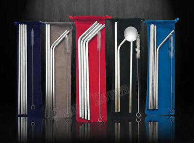 Stainless Steel Metal Drinking Straw Reusable Straws High Quality Bag Packed