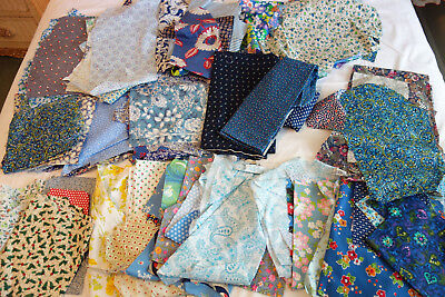 Large Vintage Fabric Quilt Cutter Scrap fabric Lot Floral Prints 6lbs C