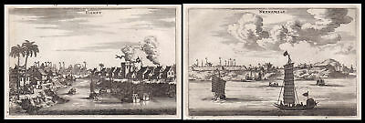 1668 China Ansicht view city Stadt Asia Kupferstich antique print Nieuhof Siampu