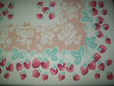 Vintage Tablecloth Strawberries Pink & Turquoise