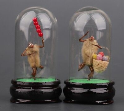 2 Chinese Glass Decoration Vacuum Hairy Monkey Beijing Special Gift
