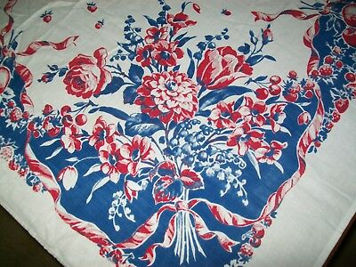 Vintage Tablecloth Flowers & Fruit Red, White & Blue