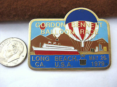 HOT AIR BALLOON Vintage Enameled Pin  Gordon Bennett Race * Long Beach, CA  1979